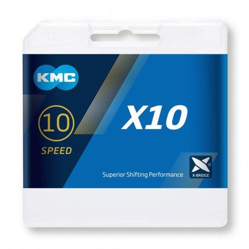 Cadena Kmc X10 1/2×11/128″ 10v Negra/plata