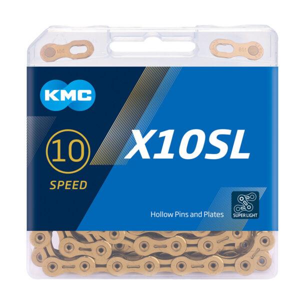 Cadena Kmc X10SL 1/2×11/128″ 10v Gold